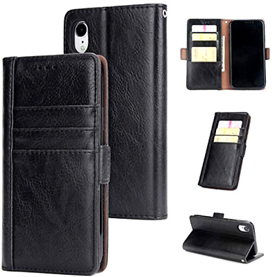 Apple iPhone XR Leather Wallet Case Double Card Slot Front Back Shockproof