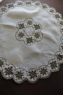 Vintage large white Irish linen Lefkara hand embroidered table centre cloth