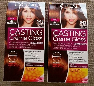 2x L Oreal Paris Casting Creme Gloss 543 Golden Henna New 10 00