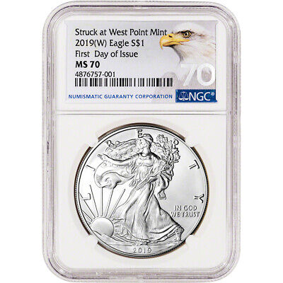2019-(W) American Silver Eagle - NGC MS70 - First Day of Issue - Grade 70