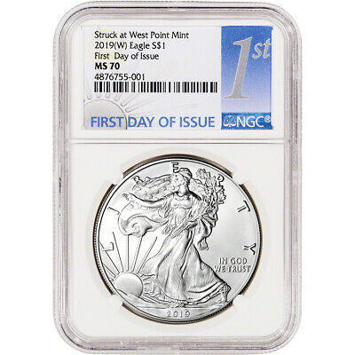 2019-(W) American Silver Eagle - NGC MS70 - First Day of Issue - 1st Label