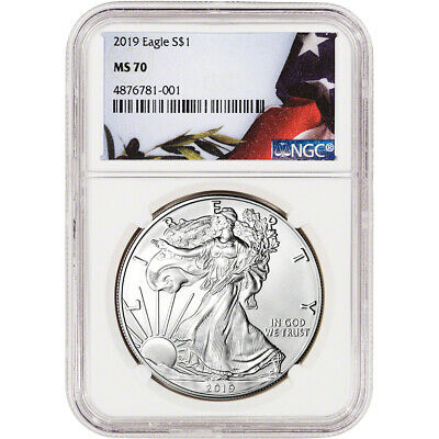 2019 American Silver Eagle - NGC MS70 - Flag Label