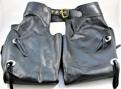 Leather Motorcycle Riding Chaps Size Large with Conchos Vintage