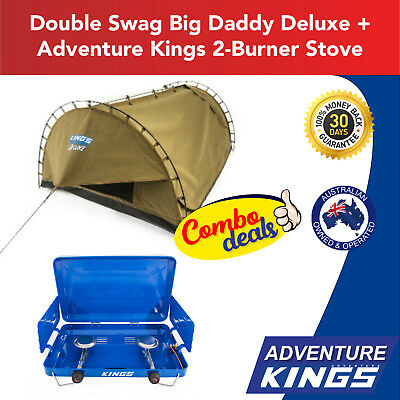 Adventure Kings Double Swag Big Daddy Deluxe + Adventure Kings 2-Burner Stove