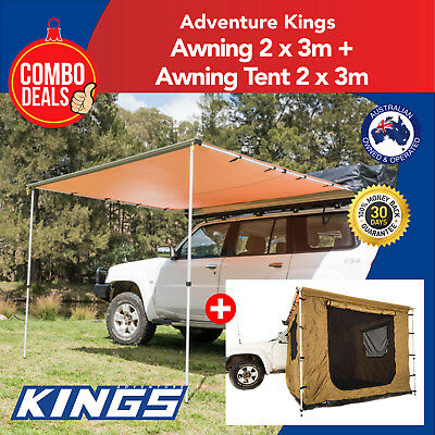 Kings Awning 2x3m + 2 x 3m Awning Tent 4X4 Extension Tent Side Shade Roof Rack