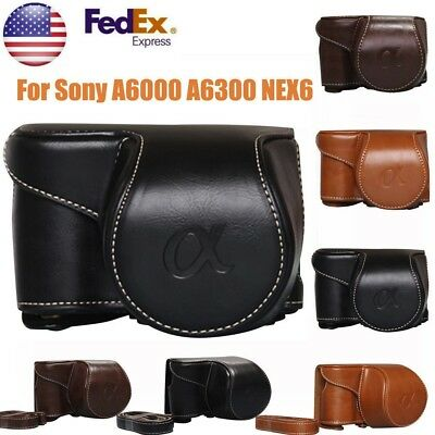 Vintage PU Leather Camera Bag Case Cover Pouch For Sony A6000 A6300 NEX6 USA