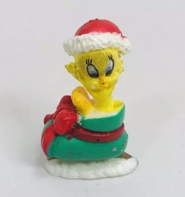 Vintage Warner Bros Looney Tunes Tweety Bird miniature Christmas ornament Sleigh