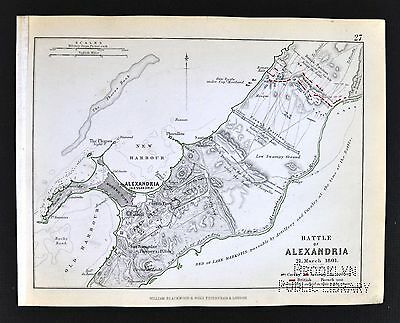 1850 Johnston Military Map - Napoleon Battle of Alexandria Egypt  France Britain
