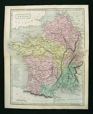 1851 Hall Map Gallia Gaule Ancient France Roman Period