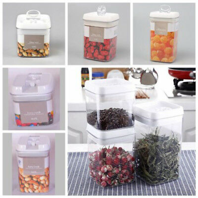 0.5L~2.3 L Seal Clamp Lid Kitchen Storage Container Food Jar Dried Fruit Plastic