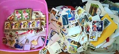 Icecream Container of Stamps, Unsorted On Paper/Off Paper - Mostly Australia/UK