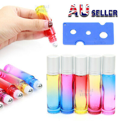UP 100Pcs 10ml Thick Gradient Glass Roll On Bottles Steel Roller Essential Oil