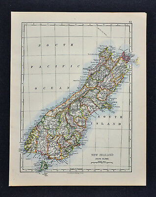 1895 Johnston Map  New Zealand South Island Blenheim Duniden Timaru Christchurch