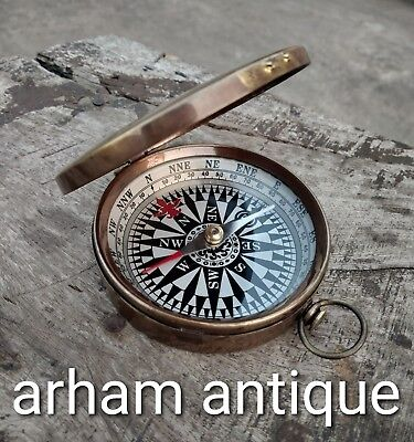 Nautical Antique Brass Collectable Compass Vintage Navigation Working Compass G