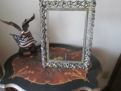 Victorian Cast Iron Picture Frame Ornate Floral Design Free standing