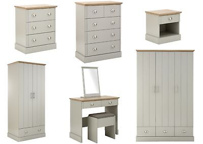 Kendal Grey & Oak Country Style Bedroom Furniture - Bedside, Chests, Wardrobes