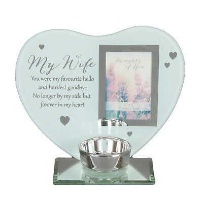 Glass Heart Wife Memorial Candle T Lite Holder Remembrance Photo Plaque Gift