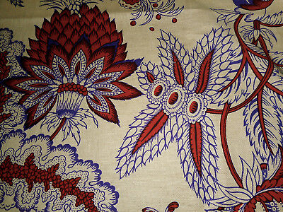 Vintage French Indienne Large Floral Cotton Fabric ~ Boussac ~ Violet Burnt Red