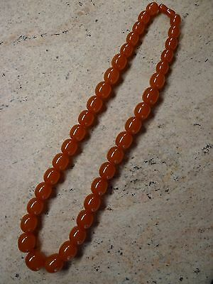 Genuine Baltic Amber  Oval Beads Necklace Vintage Antique  29,5 Inch 140,3 Gram