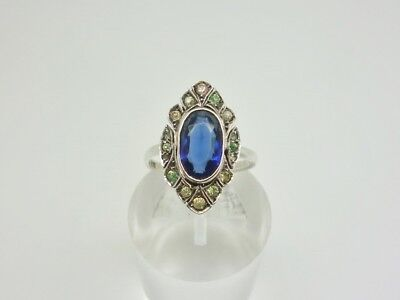 Antique Art Deco 935 Solid Silver Sapphire & Diamond PASTE Cocktail Ring Size K