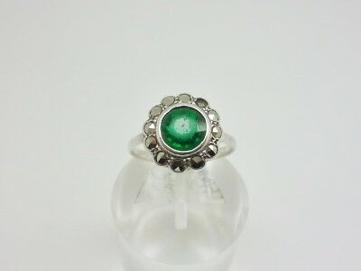 Antique Art Deco Sterling Silver Emerald PASTE Marcasite Cocktail Ring Size I.5