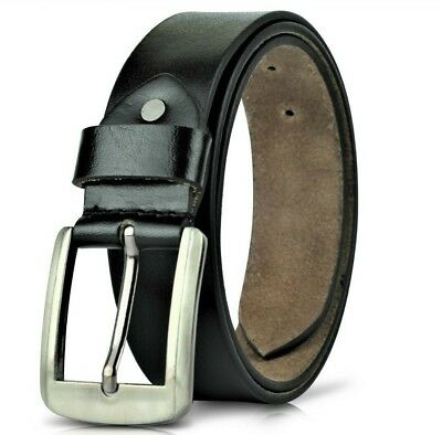 Leather Mens Belt Belts Real New Genuine Buckle Trouser Tan Brown Black Jeans