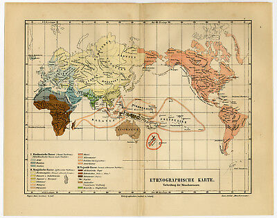 Antique Map-WORLD MAP-HUMAN RACES-Meyers-1895