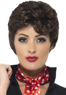 Ladies Black Rizzo Wig Grease 60s FIlm Fancy Dress Costume Accessory