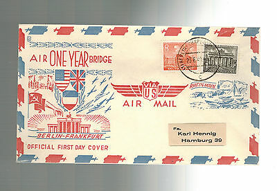 1949 Berlin Germany one Year Air Bridge Airlift First DAy Cover Charlottenburg