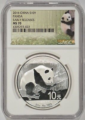 2016 China 30 Gram Fine Silver Panda S10Y NGC MS70 Early Releases 4305293-022