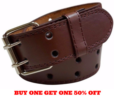 Genuine Leather Two Row Double Row Prong Holes Casual Brown Belt