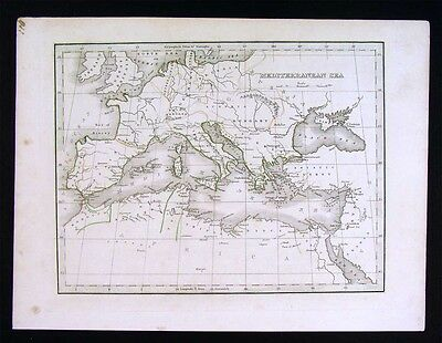 1835 Bradford Map - Mediterranean Sea - Europe Italy Greece Spain North Africa