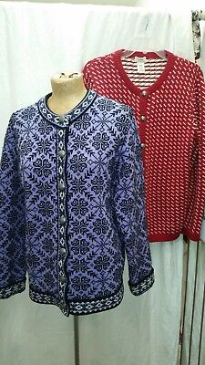 Lot of Two Vintage Nordic Sweaters by L. L. Bean Purple & Red Medium
