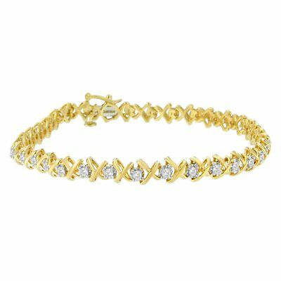10k Yellow Gold-Plated Sterling Silver 1ct TDW X Link Diamond Bracelet (H-I, I3)