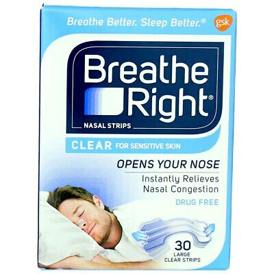 Breathe Right Clear Nasal Strips, Clear, Large, 30 Ct