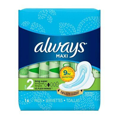 Always Maxi Pads, Size 2 Long Super, with Flexi-Wings, Unscented, 16 Ct