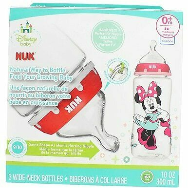 NUK Disney Minnie Mouse 10 Ounce Orthodontic Bottle, 3-Pack, Med Flow, Silicone
