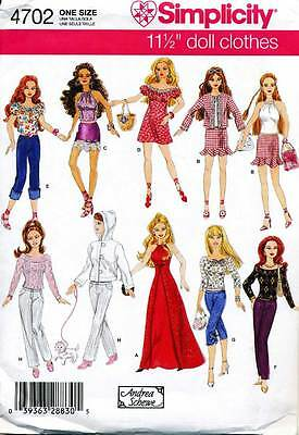 Simplicity Sewing Pattern 4702 Barbie Fashion Doll Clothes - Dresses Sports Wear