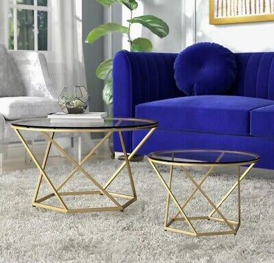 Metal Round Coffee Table Set Glass Large Lounge Furniture