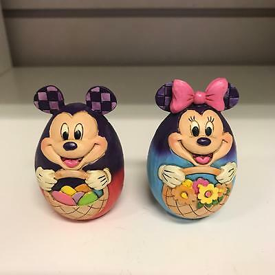 Disney Traditions Mickey Mouse & Minnie Mouse Egg Easter Figurines - Brand New