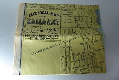 Antique Electoral Map Of Ballarat By Tulloch & King Printers Victoria Australia