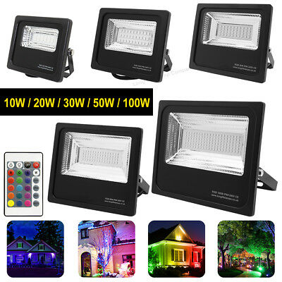 RGB Colour Changing LED Floodlight Outdoor IP66 Garden Party Security Spotlight