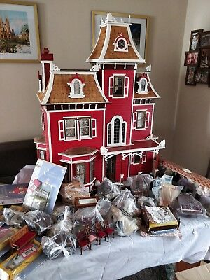 Wooden Doll House With Staircase, Electricity, Furniture, Dolls & Magazines.