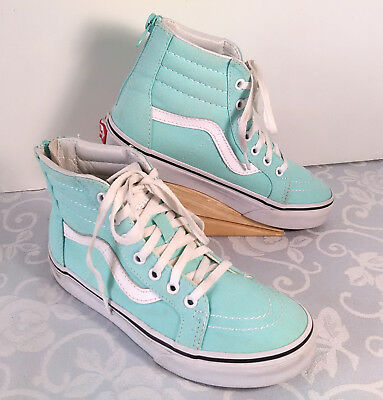 f0241b360d4 Vans Girls SK8-Hi High Top Sneakers Youth Size 2 Mint Green Back Zip Skate
