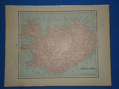 Vintage 1895 ICELAND Map Old Antique Original Atlas Map 12519