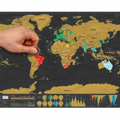 Deluxe Scratch Off Black World Map Erase Travel Wall Personalized Home Room 1pcs