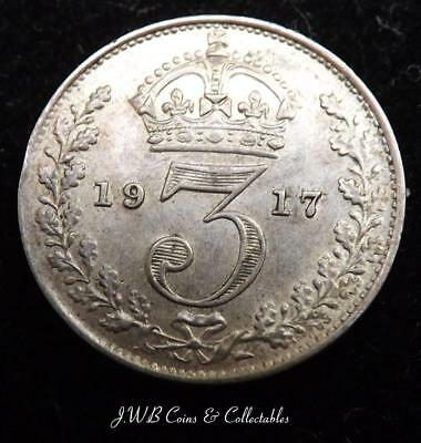 1917 George V Silver Threepence Coin - Great Britain Good Condition