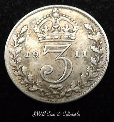 1911 George V Silver Threepence Coin - Great Britain