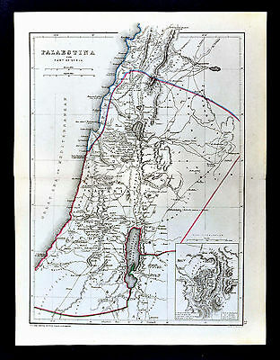 1871 Classical Map Ancient Palestine Jerusalem Judea Samaria Middle East Israel