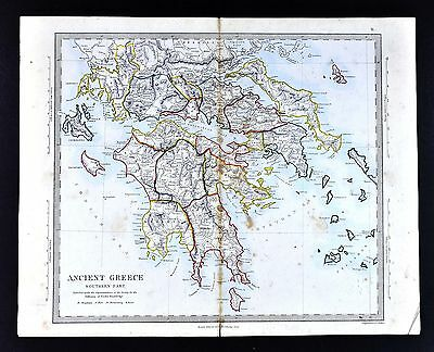 1866 SDUK Map - Ancient Greece Peloponnese Athens Sparta Corinth Olympia Delphi